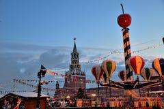Decoraciones de la Navidad en Plaza Roja en el ` s, Moscú, Rusia del Año Nuevo Fotografía de archivo