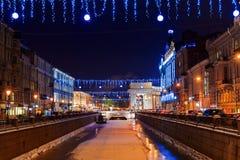 Decoraciones de la Navidad en St Petersburg, Rusia Fotos de archivo libres de regalías
