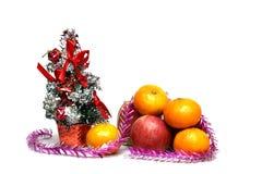 Decoraciones de la Navidad en un fondo blanco Fotografía de archivo