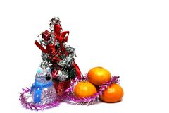 Decoraciones de la Navidad en un fondo blanco Fotos de archivo libres de regalías