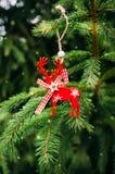 Decoraciones de la Navidad en un fondo de la picea verde Imagenes de archivo