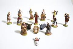 Decoraciones de la Navidad, estatuas de la escena de la natividad en una pizca foto de archivo