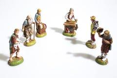 Decoraciones de la Navidad, estatuas de la escena de la natividad en una pizca fotografía de archivo libre de regalías