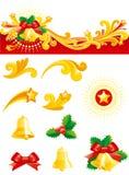 Decoraciones de la Navidad fijadas Foto de archivo libre de regalías