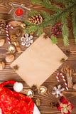 Decoraciones de la Navidad Fije para la tarjeta de felicitación con el espacio de la copia Imágenes de archivo libres de regalías