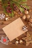 Decoraciones de la Navidad Fije para la tarjeta de felicitación con el espacio de la copia Fotos de archivo libres de regalías