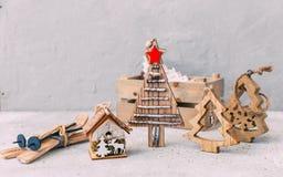 Decoraciones de la Navidad Fondo del Año Nuevo fotografía de archivo libre de regalías