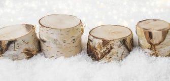 Decoraciones de la Navidad hechas de la madera de abedul en la nieve con el backgr Imagen de archivo libre de regalías