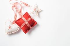 Decoraciones de la Navidad hechas del fieltro Fotografía de archivo libre de regalías