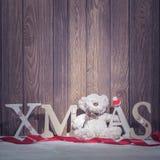 Decoraciones de la Navidad - letras y oso del árbol de Navidad Fotos de archivo
