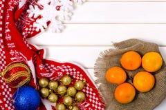 Decoraciones de la Navidad mandarines de una tela escocesa Imagen de archivo libre de regalías