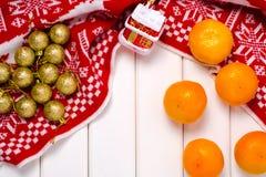 Decoraciones de la Navidad mandarines de una tela escocesa Imagen de archivo