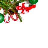 Decoraciones de la Navidad, palillos del caramelo, máscara, topetones en el de madera Fotos de archivo