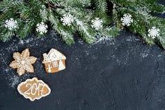 Decoraciones de la Navidad, ramas spruce en la opinión superior del fondo oscuro Imagen de archivo
