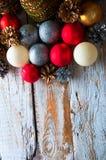Decoraciones de la Navidad Visión superior Copyspace Fotos de archivo libres de regalías