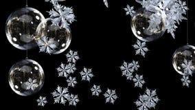 Decoraciones de la Navidad y copos de nieve que caen stock de ilustración