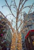 Decoraciones de la Navidad y del Año Nuevo en Moscú, Rusia Imagen de archivo libre de regalías