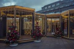 Decoraciones de la Navidad y del Año Nuevo en Moscú, Rusia Fotografía de archivo