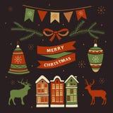 Decoraciones de la Navidad y elementos del sistema ilustración del vector
