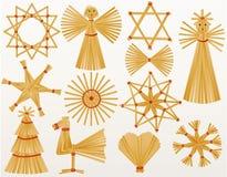 Decoraciones de la paja de la Navidad Imagen de archivo