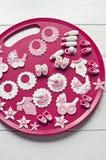 Decoraciones de la pasta de azúcar de la ducha de bebé Imágenes de archivo libres de regalías