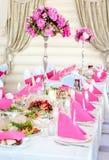 Decoraciones de la tabla de la boda Imagen de archivo libre de regalías
