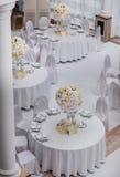 Decoraciones de la tabla del banquete de boda Imagen de archivo libre de regalías