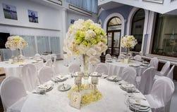 Decoraciones de la tabla del banquete de boda Fotos de archivo