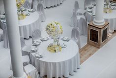Decoraciones de la tabla del banquete de boda Fotografía de archivo