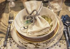 Decoraciones de la tabla del día de fiesta Imágenes de archivo libres de regalías