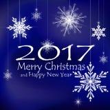 Decoraciones de la tarjeta de la Feliz Navidad y de la Feliz Año Nuevo Fondos azul marino ilustración del vector