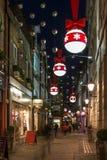 Decoraciones de las luces de la Navidad en Londres central, Reino Unido Fotografía de archivo