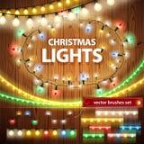 Decoraciones de las luces de la Navidad fijadas Fotos de archivo libres de regalías