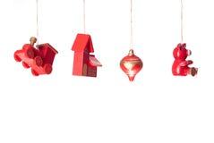 Decoraciones de madera de los juguetes de la Navidad Fotografía de archivo