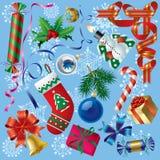 Decoraciones de Navidad y de los Nuevo-Años ilustración del vector