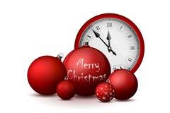 Decoraciones de Navidad y del Año Nuevo Bolas rojas de la Navidad con los tenedores y el reloj de plata del vintage libre illustration