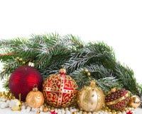 Decoraciones de oro de la Navidad Foto de archivo