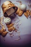 Decoraciones de oro de las alas por Año Nuevo Foto de archivo