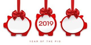 Decoraciones de papel de los cerdos por 2019 Años Nuevos stock de ilustración