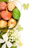 Decoraciones de Pascua, frontera adornada de la página Fotos de archivo libres de regalías
