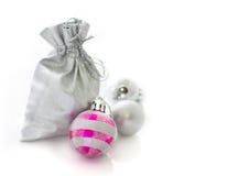 Decoraciones de plata de la Navidad Fotos de archivo libres de regalías