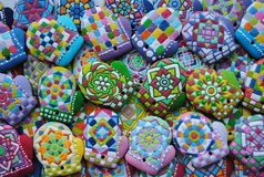 Decoraciones del árbol de navidad, único, coloridas, galletas de la miel Fotos de archivo libres de regalías