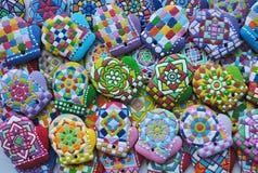 Decoraciones del árbol de navidad, único, coloridas, galletas de la miel Fotografía de archivo libre de regalías