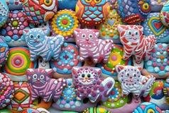 Decoraciones del árbol de navidad, único, coloridas, galletas de la miel Fotografía de archivo