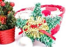 Decoraciones del árbol de navidad y de la Navidad Fotografía de archivo