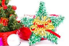 Decoraciones del árbol de navidad y de la Navidad Foto de archivo