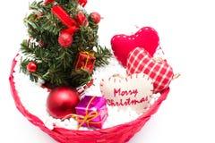 Decoraciones del árbol de navidad y de la Navidad Fotografía de archivo libre de regalías