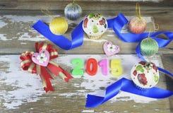 Decoraciones del Año Nuevo 2015 Fotografía de archivo libre de regalías