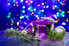 Decoraciones del Año Nuevo con el rectángulo de lujo Imagenes de archivo