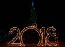 Decoraciones del Año Nuevo del día de fiesta de la capital de Rusia la ciudad de Moscú 2018 Imagen de archivo